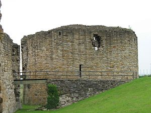 Flint Castle - The isolated keep defended the gateway and drawbridge between the inner ward and outer bailey.