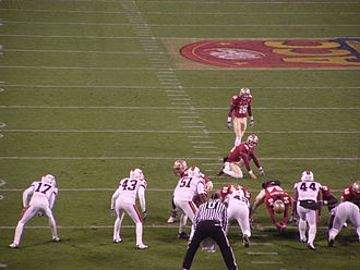 2010 ACC Championship Game - Florida State lines up to attempt a field goal in the first quarter. The successful attempt was the first score of the game, putting the Seminoles up 3–0