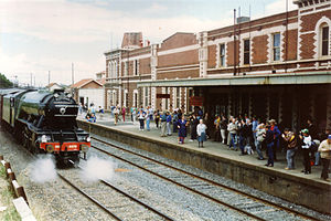 Seymour railway station - 4472 Flying Scotsman arrives at Seymour in 1989