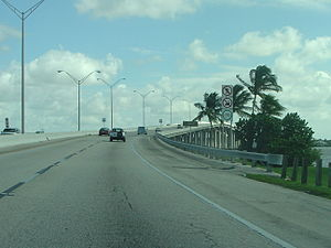 Cape Coral Bridge - The Cape Coral Side of the eastbound span (the 1989 span)
