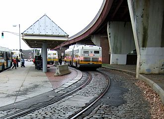 Forest Hills station (MBTA) - Image: Forest Hills streetcar loops in 2006