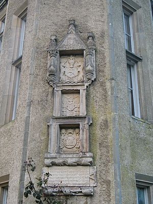 Forglen House - A feature on the 4-storey tower is a triple coat of arms from 1578