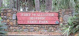 Fort McAllister Historic State Park - Image: Fort Mc Allister State Park sign, Bryan County, GA, US
