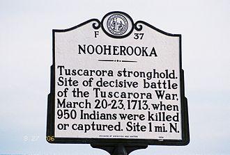 Greene County, North Carolina - Image: Fort Neoheroka Historical Marker