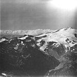 Fourpeaked Mountain, mountain glacier with icefall, and bergschrund, September 4, 1977 (GLACIERS 6514).jpg