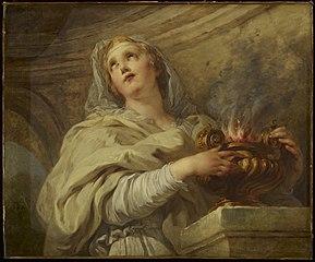A Vestal Virgin Tending Fire