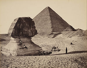 Francis Bedford - The Sphinx, the Great Pyramid and two lesser Pyramids, Ghizeh, Egypt - Google Art Project.jpg
