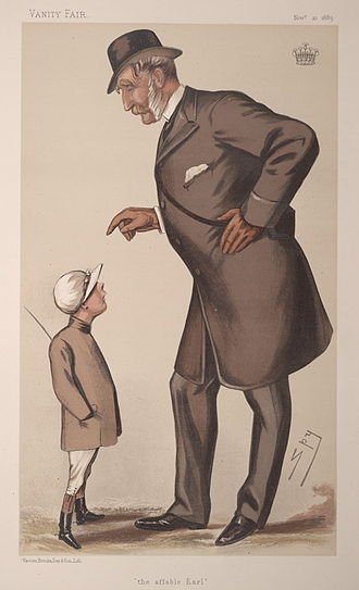 """Francis Fane, 12th Earl of Westmorland - """"the affable Earl"""". Caricature by Spy published in Vanity Fair in 1883."""
