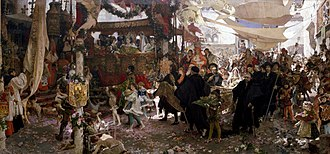John, Prince of Asturias - Francisco Pradilla Ortiz's painting Retinue of the Baptism of Don Juan, son of the Catholic Monarchs, Along the Streets of Seville, 1910