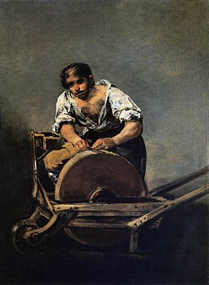 Grindstone - Man using a portable grindstone; painting by Goya
