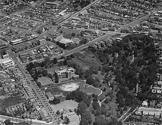 Auckland Girls' Grammar School - The school seen from the air in 1934.
