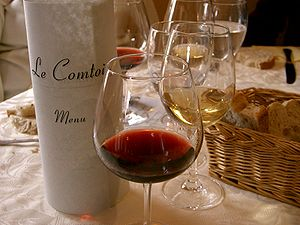 French wine - French wines are usually made to accompany food.