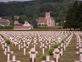 Church and a French military cemetery in Soupir