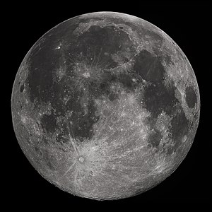 Moon - Full moon as seen from North America in Earth's Northern Hemisphere