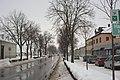 Gänserndorf im Schnee 2013 Hauptstraße.jpg