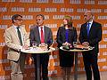Göran Hägglund, Jan Björklund, Annie Lööf och Fredrik Reinfeldt, 2013-09-09 01.jpg