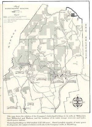 Great Northern Paper Company - Map of Great Northern Paper Company's timberland holdings in 1950.