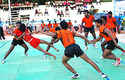 Players of kabaddi, a contact sport originating in ancient India.