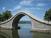 When made from stone this becomes a true arch bridge, requiring stone approaches for structural stability. Chinese moon bridge