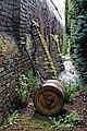 Garden hand lawn roller at Myddelton House garden, Enfield, London, England.jpg