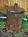 Garden waste burner bin in Nuthurst, West Sussex, England 02.jpg