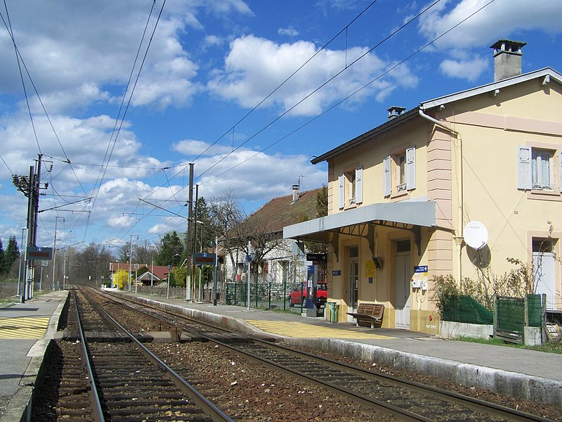 General view of the French commune of Grésy sur Aix railway station, near Aix-les-Bains, in Savoie.