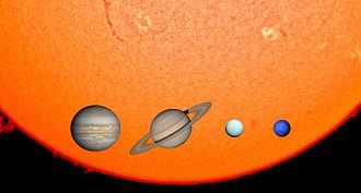 Giant planet - The Solar System's four giant planets against the Sun, to scale