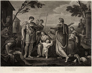 Gaius Marcius Coriolanus -  Act V, Scene III of Shakespeare's Coriolanus. Engraved by James Caldwell from a painting by Gavin Hamilton.