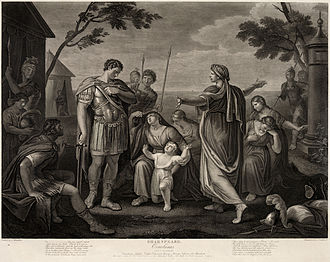Coriolanus - Coriolanus, Act V, Scene III. Engraved by James Caldwell from a painting by Gavin Hamilton.