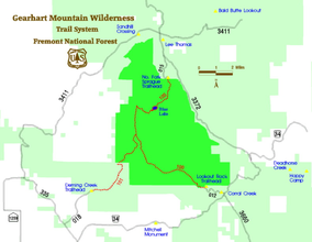 Map showing the location of Gearhart Mountain Wilderness