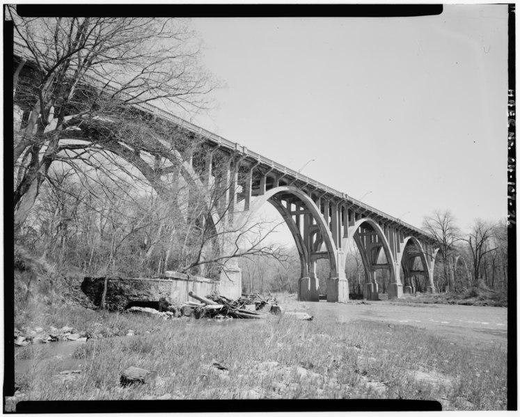 File:General view of viaduct within setting, southeast elevation VIEW NORTH - Ashtabula Viaduct, Spanning Ashtabula River at U.S. Route 20 (Prospect Road), Ashtabula, Ashtabula County, HAER OHIO,4-ASH,2-26.tif