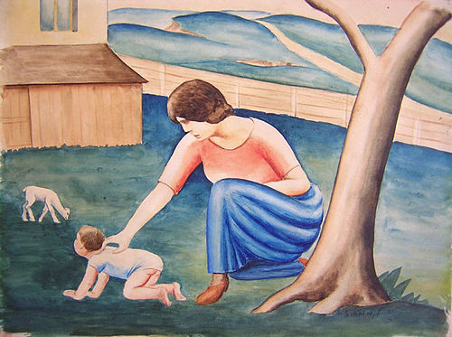 Georg Schrimpf - Mutter mit Kind und Lamm - 1921.jpg