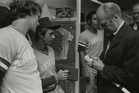 George Brett Freddie Patek and Gerald Ford (cropped)