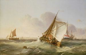 George Chambers (painter) - A Dutch Boeier in a Fresh Breeze (1831, oil on canvas, National Maritime Museum, London).