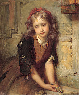 "George Elgar Hicks - The dead goldfinch (""All that was left to love"") - Google Art Project"