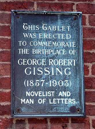 George Gissing - Commemorative tablet at Gissing's birthplace