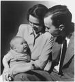 George and Barbara Bush with their first born child George W. Bush, while Bush was a student at Yale - NARA - 186384.tif