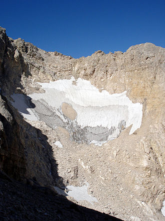 "Calderone glacier - ""Il Calderone"", Europe's southernmost glacier as seen in July 2007, deglaciation has not slowed, making it unlikely the Calderone will survive past 2020"