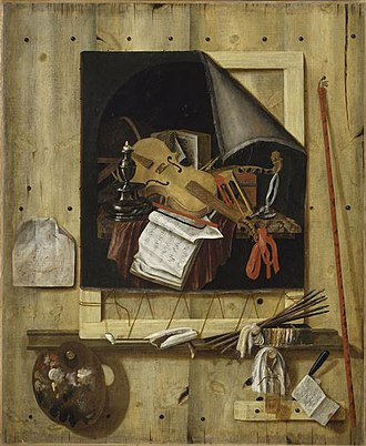 Cornelis Norbertus Gysbrechts - Image: Gijsbrechts, Cornelius N. Trompe l'œil mit Atelierwand und Vanitasstillleben 1665