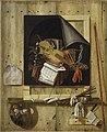 Gijsbrechts, Cornelius N. - Trompe-l'œil mit Atelierwand und Vanitasstillleben - 1665.jpg