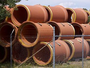 Gladding, McBean - Clay sewer pipe stored at Gladding, McBean