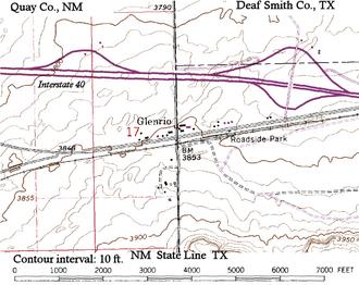 Glenrio, New Mexico and Texas - Image: Glenrio topographic map