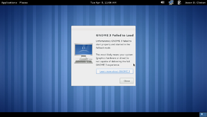 GNOME Fallback Mode in GNOME 3.0 displaying the panels at the top and bottom of the desktop