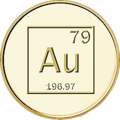 Gold medal with chemical symbol, atomic number and weight (TFA).png