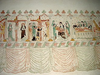 Lamentation of Christ - Medieval wall painting showing the sequence of Crucifixion, Deposition, Lamentation/Pietà, Anointing, with part of an Entombment or Resurrection on the extreme right