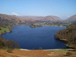 Grasmere (lake) - View from Loughrigg Terrace, looking across the lake towards Grasmere village