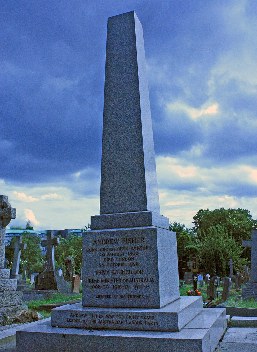 Grave of Andrew Fisher, Australian Prime Minister, in West Hampstead Cemetery