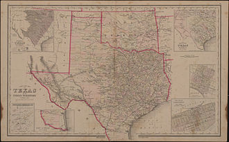 Indian Territory - Gray's new map of Texas and Indian Territory (c. 1876)
