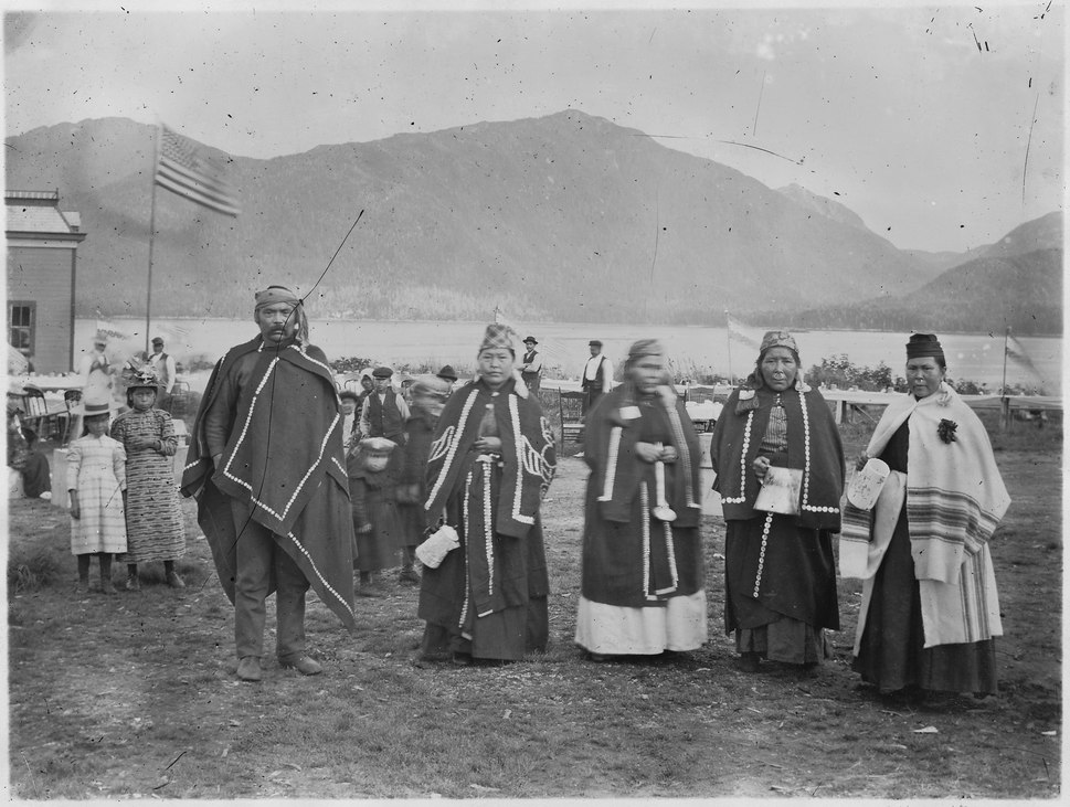 Group in native dress taken on occasion of Edward Marsden%27s wedding day at Metlakahtla. - NARA - 297646