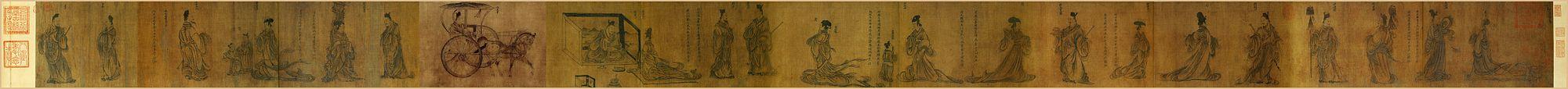 Гу Кайчжи. Свиток «Мудрые и добропорядочные женщины». Сунская копия свитка IV в. Гугун, Пекин.